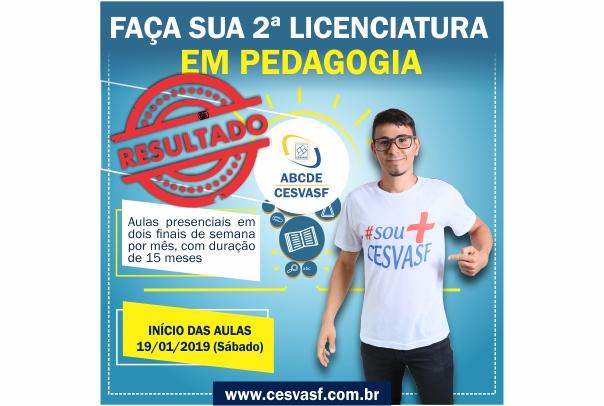 RESULTADO - EDITAL Nº 14/2018 - PROCESSO SELETIVO PARA INGRESSO NO CURSO DE LICENCIATURA EM